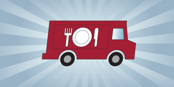 An illustration of a red food truck with beams of light behind it.