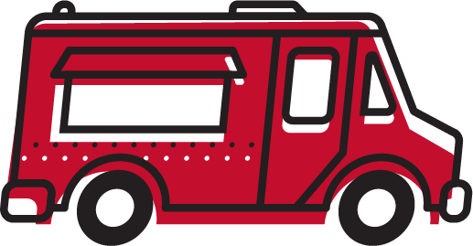 An illustration of a red food truck.