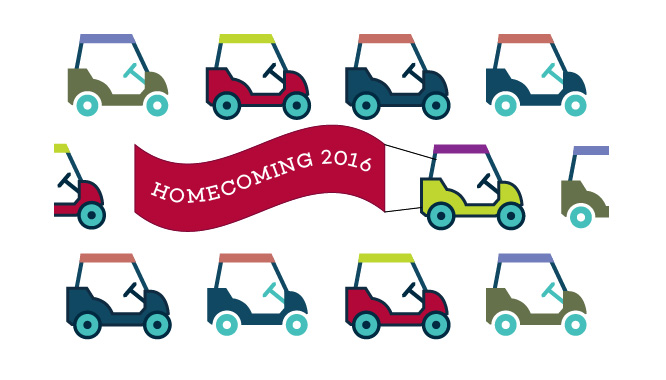 An illustration of golf carts and a banner reading Homecoming 2016.