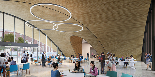 rendering of the interior of the new library featuring large windows.