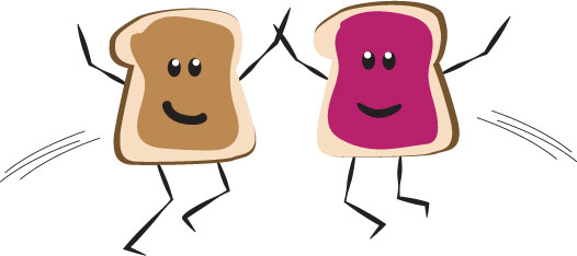 An illustration of two slices of bread, one with peanut butter, one with jelly.