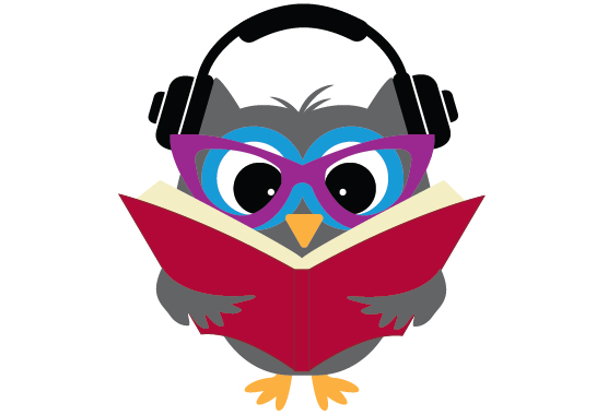 SAn illustration of an owl reading while wearing headphones.