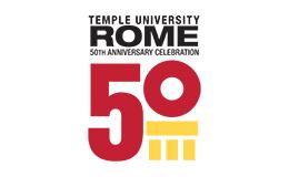 A Temple University Rome 50th anniversary graphic.