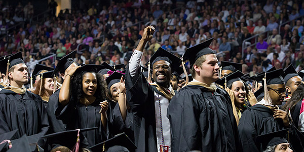 Graduates from the Class of 2015 celebrating at Temple's Commencement.