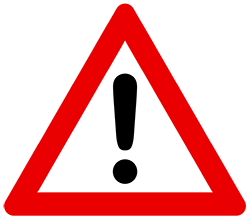A red, white and black symbol indicating danger.