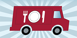 A graphic that represents the food truck culture on Main Campus.