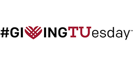 Cherry and white Giving Tuesday logo.