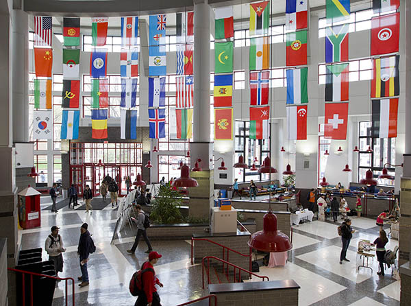 International Flags hanging in Student Center