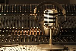 A microphone in a radio recording studio.