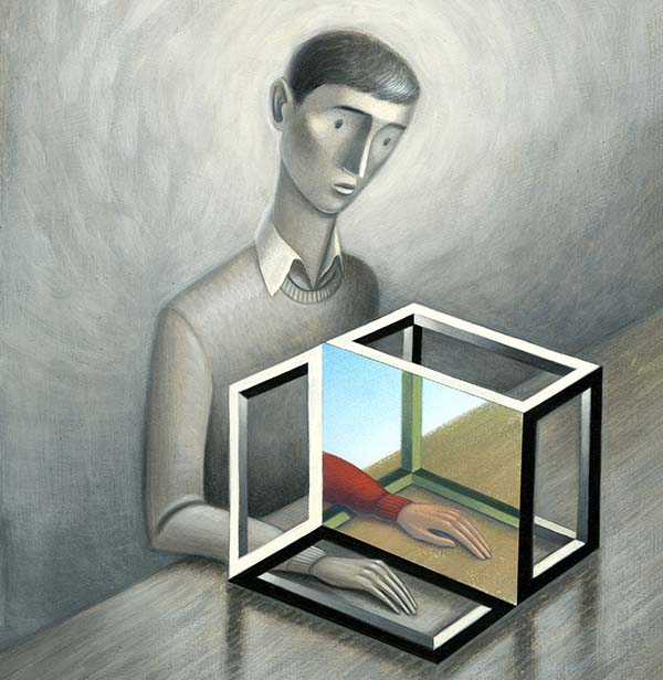 An illustration of a person trying mirror therapy.