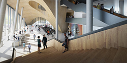 A rendering of the atrium of Temple's new library.