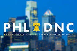 A logo for the Democratic National Convention in Philadelphia.