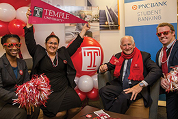 PNC staff at the on-campus Temple branch showing their Owl spirit.