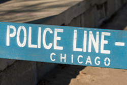 A blue police line barricade in Chicago.