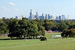 Fairmount Park with Philadelphia's skyline in the distance.